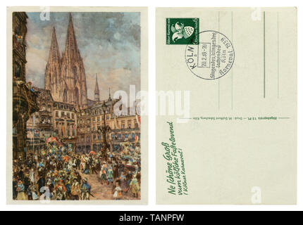 German historical postcard: Carnival in Cologne, a view of the square and Wallraf-Richartz, Cologne Cathedral, 20 February 1939. Blank reverse side, - Stock Photo