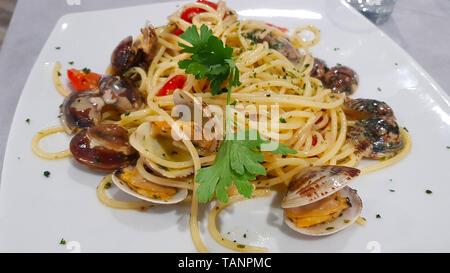 Spaghetti with seafood. Italian cuisine. Spaghetti with seafood is an Italian first course, based on spaghetti and seafood such as mollusks - Stock Photo