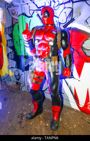 Zagreb, Croatia - December 13, 2018: Marvel character Deadpool on the stand during Advent time in city center of Zagreb, Croatia. - Stock Photo