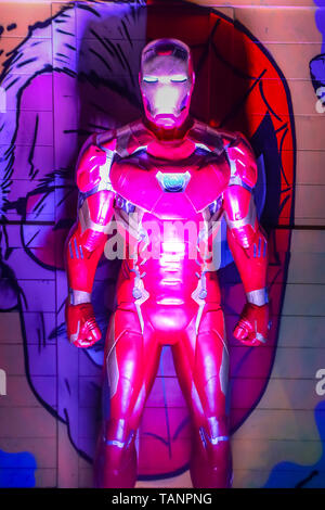 Zagreb, Croatia - December 13, 2018: Marvel character Iron man on the stand during Advent time in city center of Zagreb, Croatia. - Stock Photo