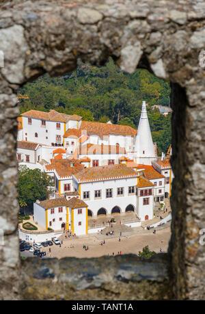 View to National Palace of Sintra (Palacio Nacional de Sintra), former summer royal residence. Sintra, Portugal - Stock Photo