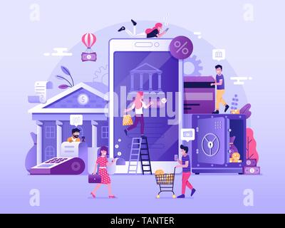Mobile Banking Illustration - Stock Photo