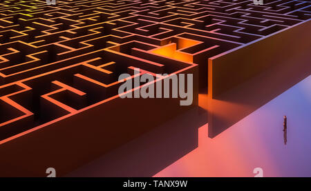 Man in suit standing in front of a rectangular maze entrance. Aerial. Abstract and conceptual 3d render illustration. - Stock Photo
