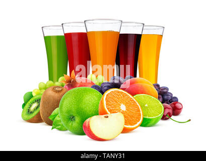 Glasses of different juice, fruits and berries isolated on white background - Stock Photo