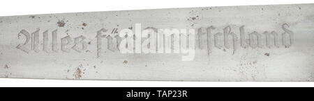 An service dagger M 33, Carl Eickhorn, Solingen, with Röhm dedication Blade in good condition, etched with a motto, on the obverse side the manufacturer's logo and the etched dedication 'In herzlicher Kameradschaft Ernst Röhm' (tr. 'In sincere comradeship'). Nickel silver grip fittings, the quillons punched 'No' for the SA Group North Sea. Brown wooden grip with inlaid nickel silver eagle and enamelled SA emblem. Signs of age and usage. Length circa 35 cm. Certificate included. Rare. historic, historical, 20th century, 1930s, 1940s, storm battalion, stormtroopers, armed and, Editorial-Use-Only - Stock Photo