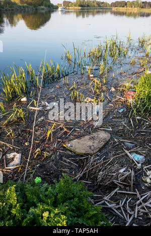 Polluted river. Plastic bottles and other rubbish in reeds and water by the banks of the River Trent, Nottinghamshire, England, UK - Stock Photo