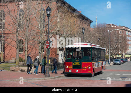 City tour bus in Salem, USA - Stock Photo