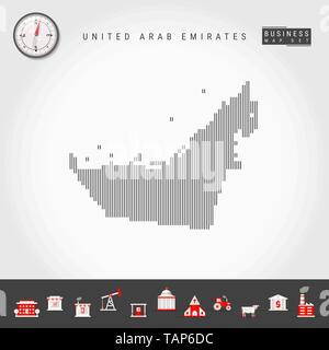 Vector Vertical Lines Pattern Map of United Arab Emirates. Striped Simple Silhouette of UAE. Realistic Vector Compass. Business Infographic Icons. - Stock Photo