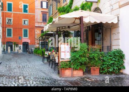 Cozy old street in Trastevere in Rome, Italy. - Stock Photo