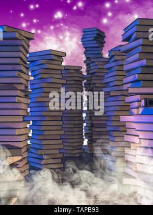 stacks of old books, smoke and magic sparkles, concept of fantasy reading, 3d image render. - Stock Photo