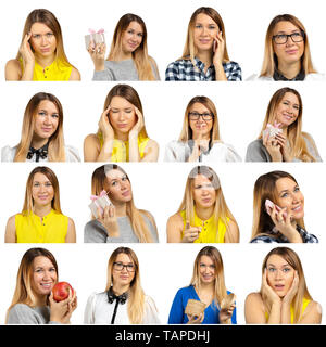 woman portrait isolated over white background. Collage - Stock Photo