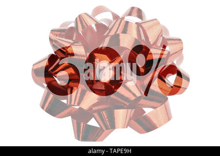 Discount 60% symbolically presented in the form of a highlighted text 60% in front of a red gift loop - Stock Photo