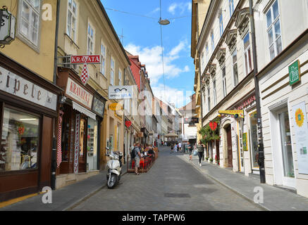 ZAGREB, CROATIA - JULY 15, 2017. Street view in Old town of Zagreb, Croatia. - Stock Photo