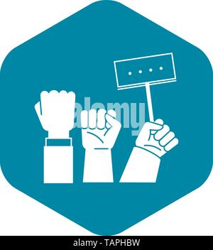 Fist up demonstration icon, simple style - Stock Photo