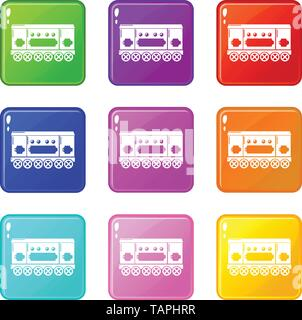 Compartment carriage icons set 9 color collection - Stock Photo