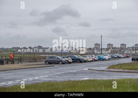 Irvine, Scotland, UK - May 25, 2019: Irvine Harbour North Ayrshire Scotland looking into the town centre with its high flats and church spier - Stock Photo