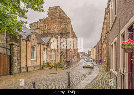 Irvine, Scotland, UK - May 25, 2019: Ancient Ruins of Seagate Castle  Irvine North Ayrshire Scotland where the Treaty of Irvine was signed in 1297 - Stock Photo