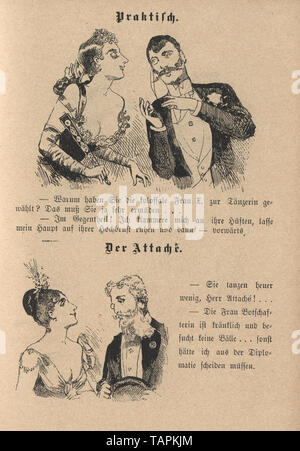 Victorian Cartoon of young couples flirting, 1880s, German - Stock Photo