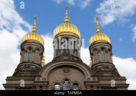 The Church of St Elizabeth in Wiesbaden, the state capital of Hesse, Germany. The Russian Orthodox place of worship is on the Neroberg. - Stock Photo