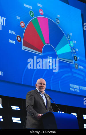 Brussels, Belgium. 27th May 2019. Frans Timmermans, vice-president of the European Commission and lead candidate of the European social-democrats, speaks at the European Parliament in Brussels, Belgium, May 27, 2019. Voters in Germany, Lithuania, Cyprus, Bulgaria, Greece and Italy cast their ballots on Sunday in elections to the European Parliament (EP). Credit: Xinhua/Alamy Live News - Stock Photo