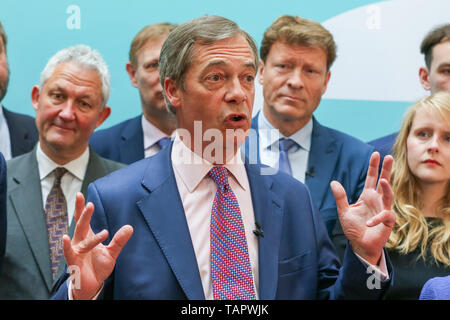 London, UK. 27th May, 2019. Westminster, London, 27 May 2019 - Nigel Farage, leader of the Brexit Party and a MEP for South East England speaking at the EU election results press conference in Westminster. The newly formed Brexit Party wants the UK to leave the EU without an agreement won 10 of the UK's 11 regions, gaining 28 seats, more than 32% of the vote across the country and are largest party in nine regions. Credit: Dinendra Haria/Alamy Live News - Stock Photo