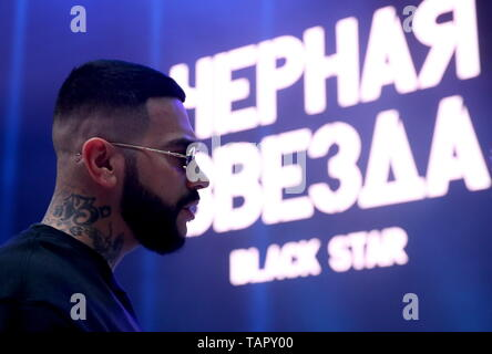 Moscow, Russia. 27th May, 2019. MOSCOW, RUSSIA - MAY 27, 2019: Black Star Inc CEO Timur Yunusov (Timati) attends a fashion show held at the Russian National Defence Management Centre for his new fashion collection designed jointly with the Voentorg suplus chain store. Sergei Savostyanov/TASS Credit: ITAR-TASS News Agency/Alamy Live News - Stock Photo