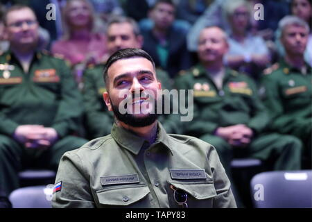 Moscow, Russia. 27th May, 2019. MOSCOW, RUSSIA - MAY 27, 2019: Black Star Inc CEO Timur Yunusov (Timati) attends a fashion show held at the Russian National Defence Management Centre for his new collection designed jointly with the Voentorg suplus chain store. Sergei Savostyanov/TASS Credit: ITAR-TASS News Agency/Alamy Live News - Stock Photo