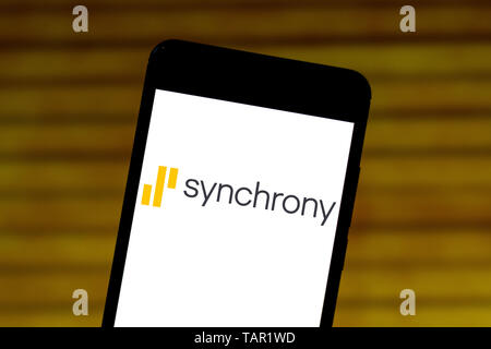 Brazil. 27th May, 2019. In this photo illustration the Synchrony logo is seen displayed on a smartphone. Credit: Rafael Henrique/SOPA Images/ZUMA Wire/Alamy Live News - Stock Photo