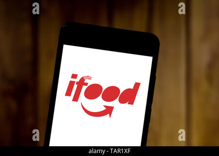 Brazil. 27th May, 2019. In this photo illustration the iFood logo is seen displayed on a smartphone. Credit: Rafael Henrique/SOPA Images/ZUMA Wire/Alamy Live News - Stock Photo