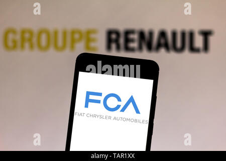 Brazil. 27th May, 2019. In this photo illustration the Fiat Chrysler Automobiles logo is seen displayed on a smartphone. Credit: Rafael Henrique/SOPA Images/ZUMA Wire/Alamy Live News - Stock Photo