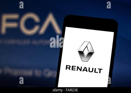 Brazil. 27th May, 2019. In this photo illustration the Renault logo is seen displayed on a smartphone. Credit: Rafael Henrique/SOPA Images/ZUMA Wire/Alamy Live News - Stock Photo