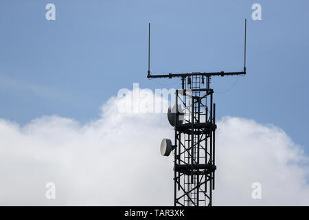 Thurland, Germany. 12th May, 2019. There's a cell tower on the A9 motorway. Credit: Jan Woitas/dpa-Zentralbild/dpa/Alamy Live News - Stock Photo