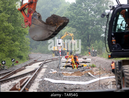 Duisburg, Germany  20th May, 2019  New rails are laid on an old