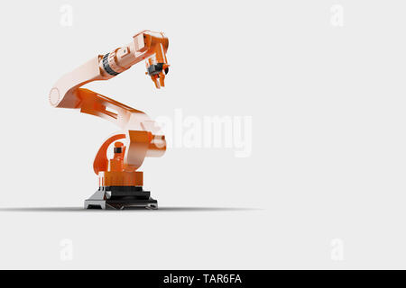 Industrial welding robots in production line manufacturer factory - Robotic manufacturing Arm machinery. Large view, on white - Stock Photo
