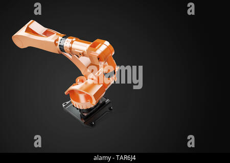 Industrial welding robots in production line manufacturer factory - Robotic manufacturing Arm machinery. Top view, on black - Stock Photo