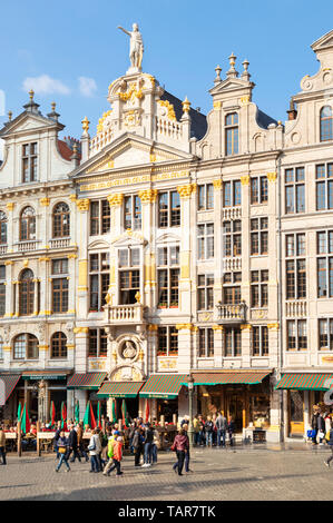 Brussels grand place Brussels ornate guild halls ornate gables on shops and cafes in the grand place Bruxelles city centre Brussels Belgium Eu Europe - Stock Photo