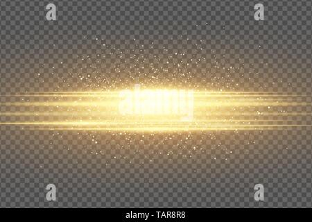 Abstract stylish light effect on a transparent background. Golden flash. Luminous flying dust. Chaotic glowing neon gold stripes. Shimmering particles - Stock Photo