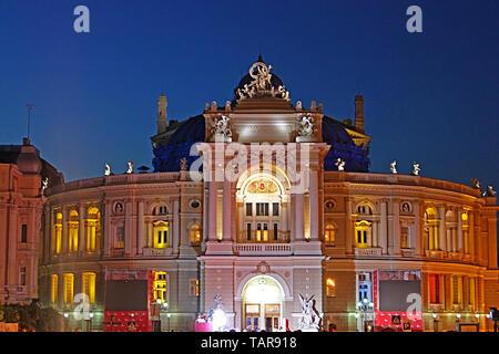 ODESSA, UKRAINE -JULY 21, 2012: Odesa Opera Theater during closing ceremony of Odesa International Film Festival - Stock Photo