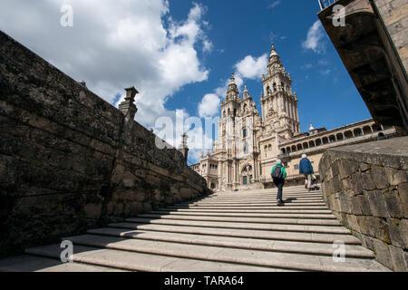 View of the Santiago de Compostela cathedral from Obradoiro square. Pilgrimage destiny