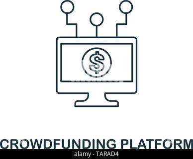 Crowdfunding Platform icon outline style. Thin line design from fintech icons collection. Pixel perfect crowdfunding platform icon for web design - Stock Photo