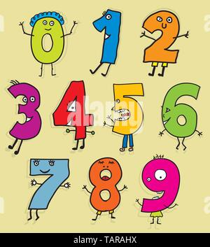 Vector illustration. Set of number figures in kiddy style. eps10 - Stock Photo