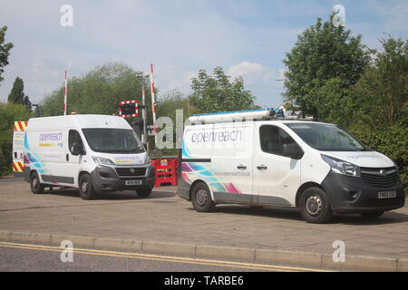 TWO OPENREACH TELECOMMUNICATIONS VANS - Stock Photo