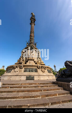 Christopher Columbus Monument, famous Italian navigator and pioneer in Barcelona, La Rambla, Catalonia, Spain - Stock Photo