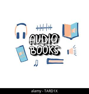 Audiobooks concept. Set of audio book symbols with lettering. Vector illustration. - Stock Photo