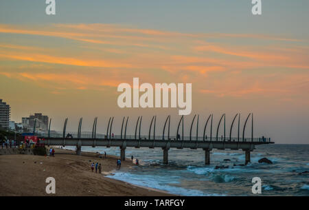 Umhlanga Promenade Pier a whalebone made pier in Kwazulu Natal Durban North South Africa - Stock Photo