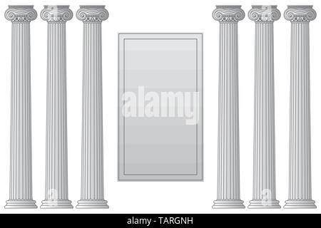 Template with historical antique greek columns with place for text Vector line illustration - Stock Photo