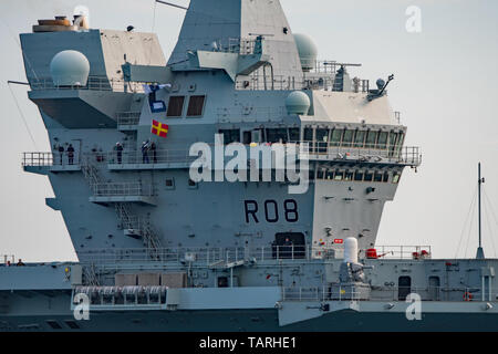Close up of the navigation bridge on the Royal Navy aircraft carrier HMS Queen Elizabeth on it's return to Portsmouth, UK on the 25th May 2019. - Stock Photo