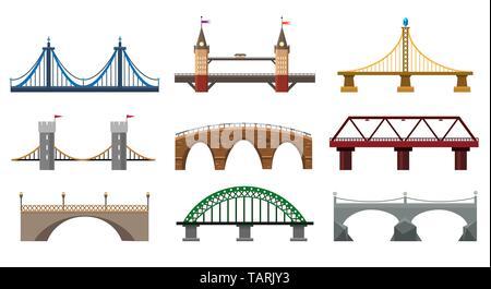 Vector bridges. Iron bridge set illustration, metal architecture building bridgework elements in flat style - Stock Photo