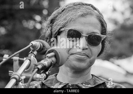 Rosa Parks, known for her stand against racial bus segregation in Montgomery, Alabama, speaking near the Washington Monument at The Poor People's March on Washington in Washington, D.C. on June 19, 1968. - Stock Photo