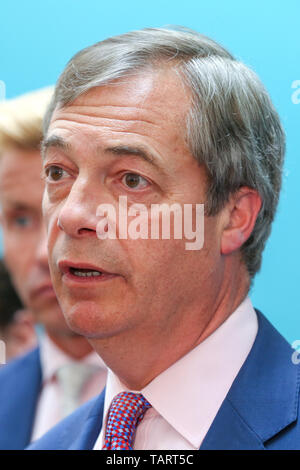 Nigel Farage, leader of the Brexit Party and a Member of the European Parliament (MEP) for South East England is seen speaking during the EU election results press conference in Westminster. The newly formed Brexit Party wants the UK to leave the EU without an agreement won 10 of the UK's 11 regions, gaining 28 seats, more than 32% of the vote across the country and are largest party in nine regions. - Stock Photo